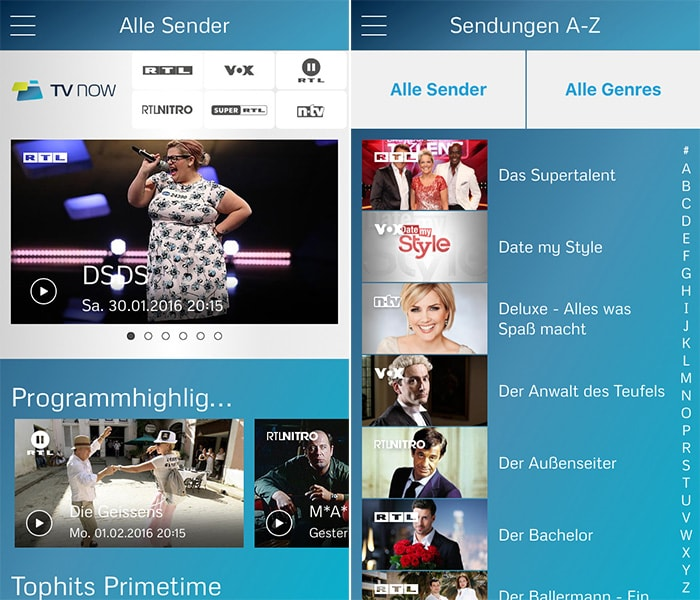 Tv now rtl b ndelt 6 programme in neuer app iphone for Spiegel tv rtl mediathek