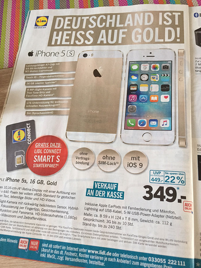 Flyer IPhone 5s Gold Bei Lidl