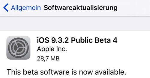 iOS 9.3.2 Public Beta 4