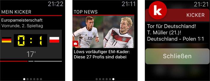 Kicker Fussball App Apple Watch