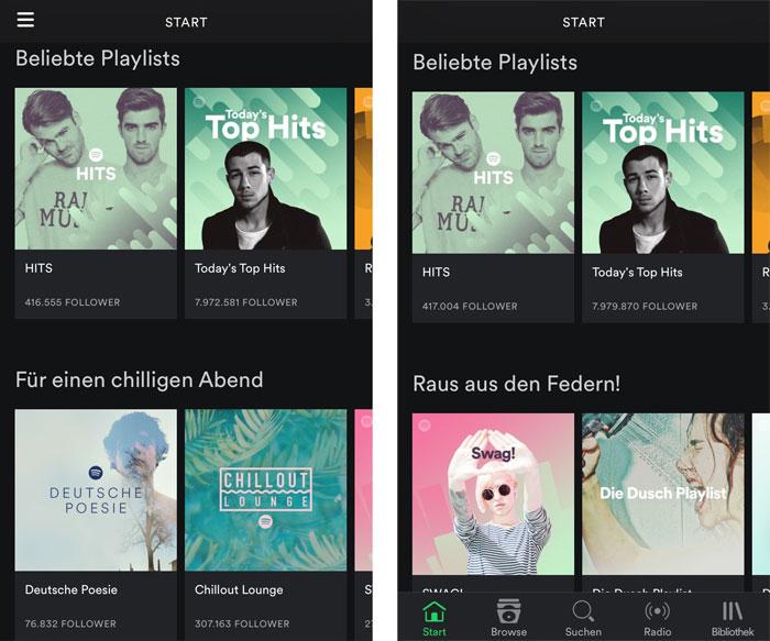 Spotify Navigation Geaendert