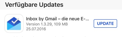 Gmail Inbox Update App Store