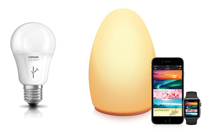 licht mit iphone steuerung philips hue starterkit lightify lampe und elgato avea im angebot. Black Bedroom Furniture Sets. Home Design Ideas