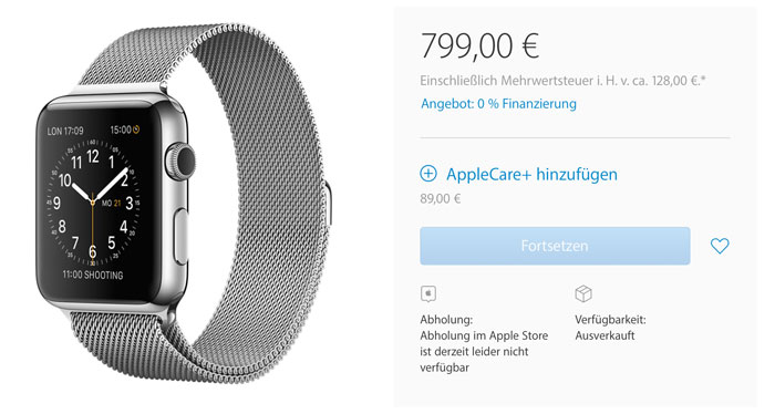 Apple Watch Edelstahl Milanaise