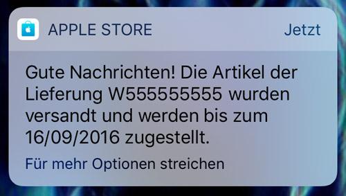 Apple Store Versandnachricht Push