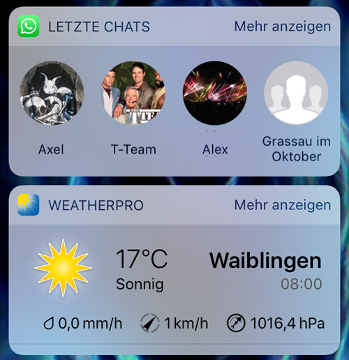 Ios 10 Widgets Whatsapp Weatherpro