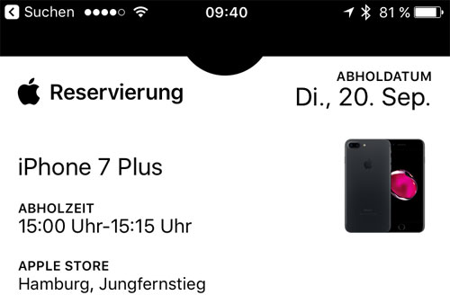 Iphone 7 Plus Reservierung