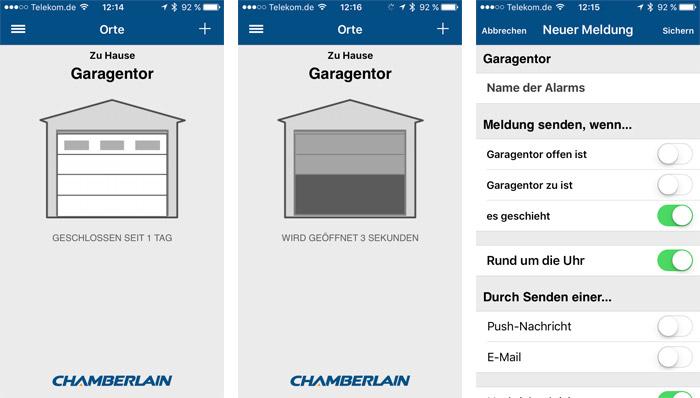 Chamberlain App Screenshots