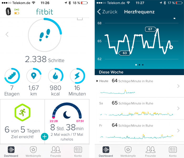 Fitbit Charge 2 App Uebersicht