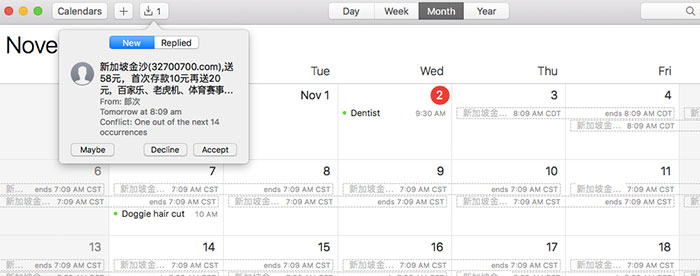 Mac Spam Kalender