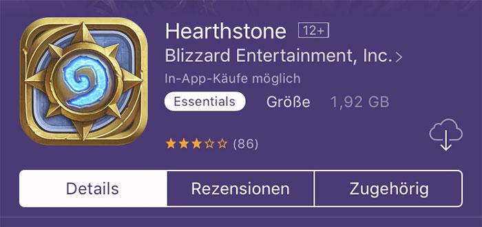 2gb Grosse App Hearthstone
