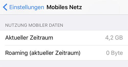 Zeitraum Nutzung Mobiler Daten Iphone