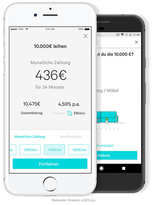 smartphone bank n26 kredite bis euro als in app. Black Bedroom Furniture Sets. Home Design Ideas