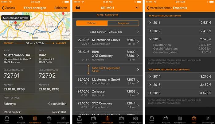Driverslog Fahrtenbuch Iphone Screenshots
