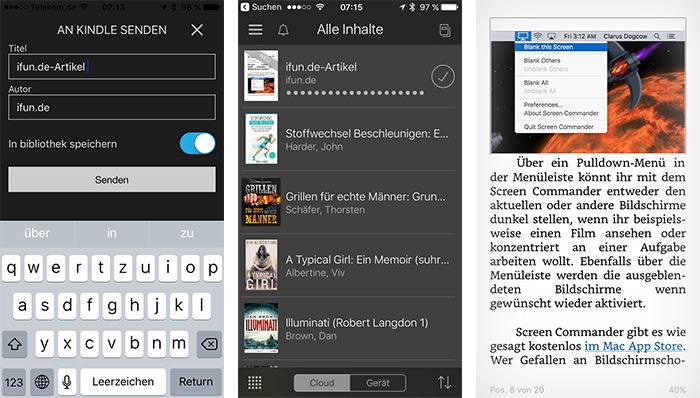 Kindle App Teilen Erweiterung Ios