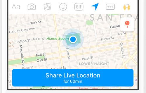 Facebook Messenger mit Live-Location-Angabe