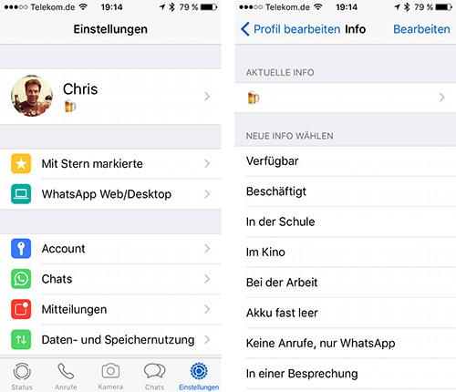 Whatsapp Statusanzeige Aendern