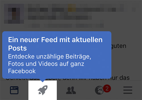 Facebook Rakete Symbol Feed