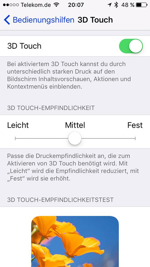 3d Touch Einstellungen