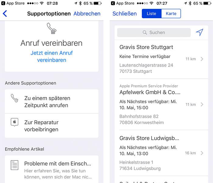 Apple Support App Reparatur Planen