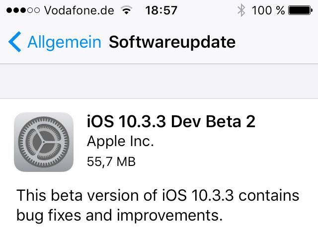 IOS 10.3.3 Beta 2 und macOS 10.12.6 Beta 2 veröffentlicht
