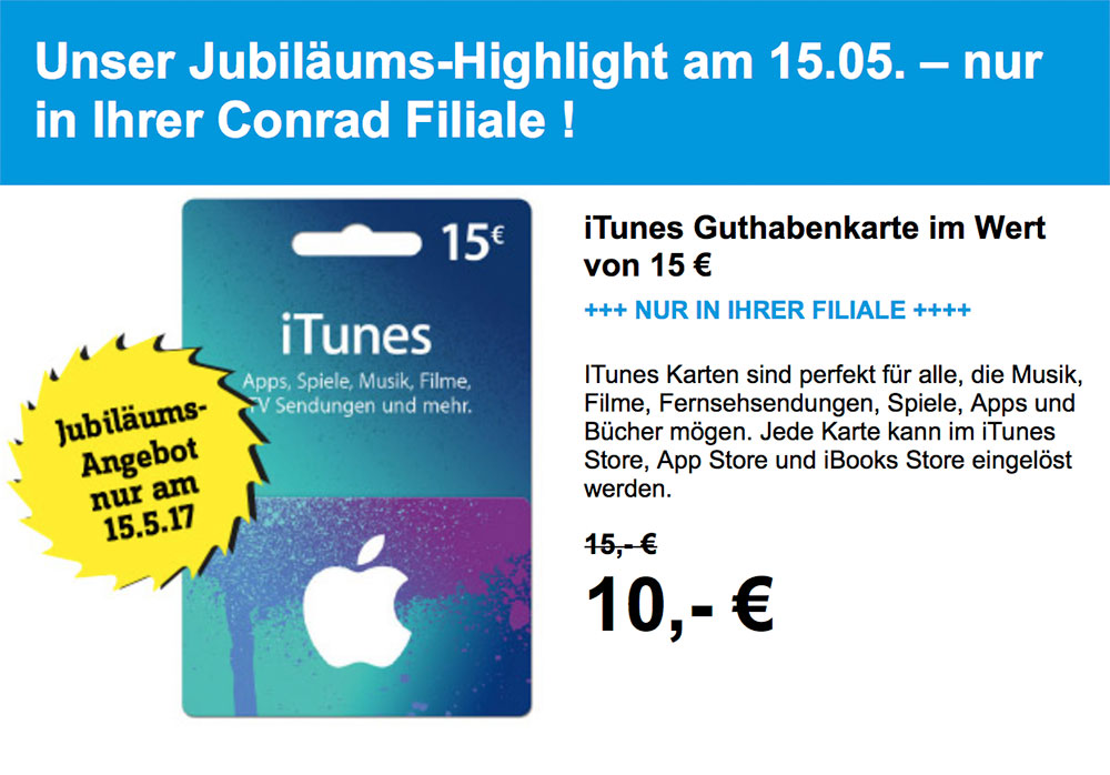 conrad bietet itunes guthaben mit 33 nachlass iphone. Black Bedroom Furniture Sets. Home Design Ideas