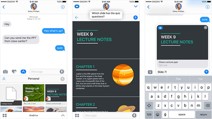 Microsoft One Drive Imessage App