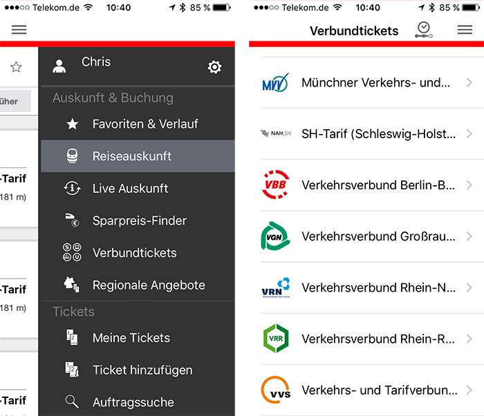 Db Navigator App Nahverkehrs Buchung