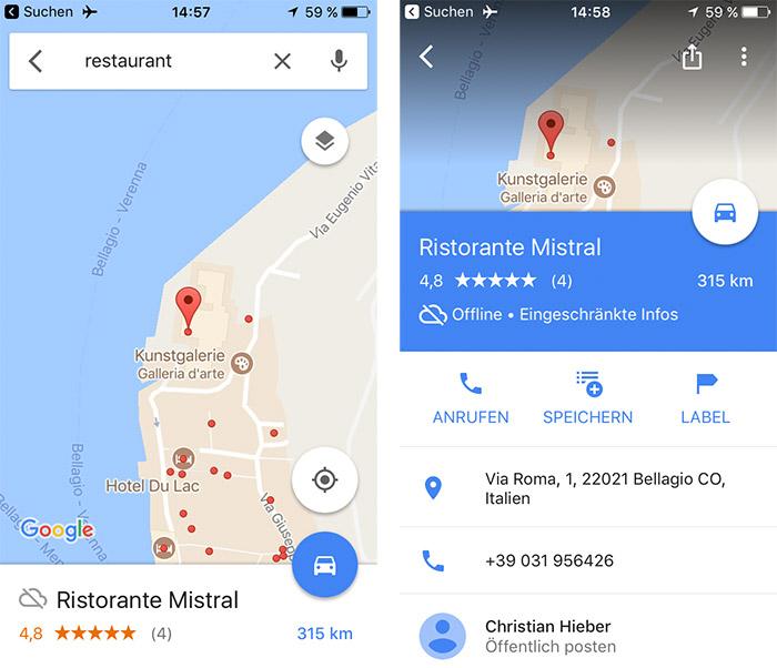 Google Maps Offline Restaurantsuche