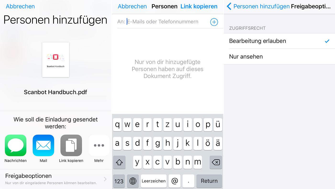 wie dropbox: ios 11 teilt links für icloud-dokumente › iphone, Einladung