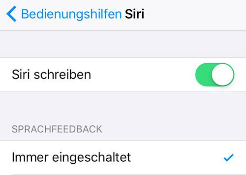 Siri Schreiben Settings