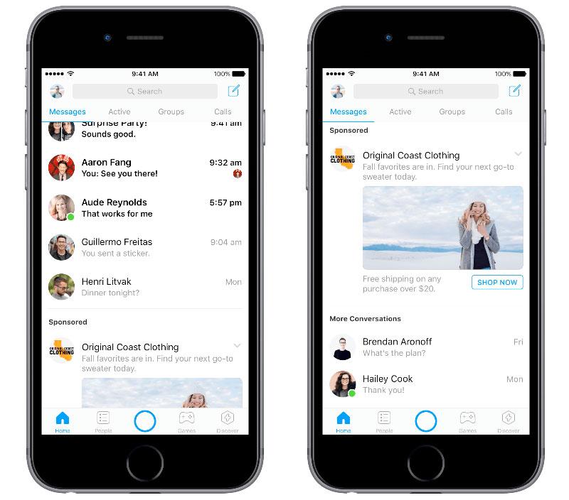 Nun kommt die Werbung im Facebook-Messenger