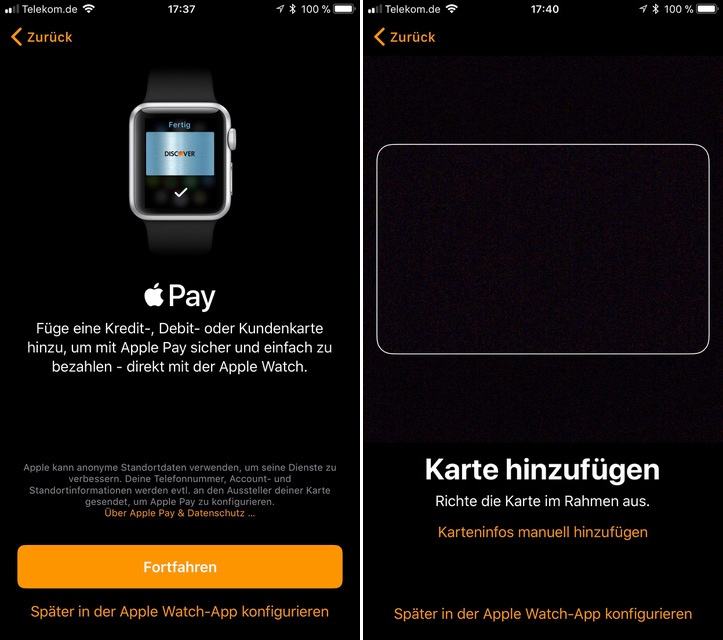 Apple Pay Deutschland Watchos