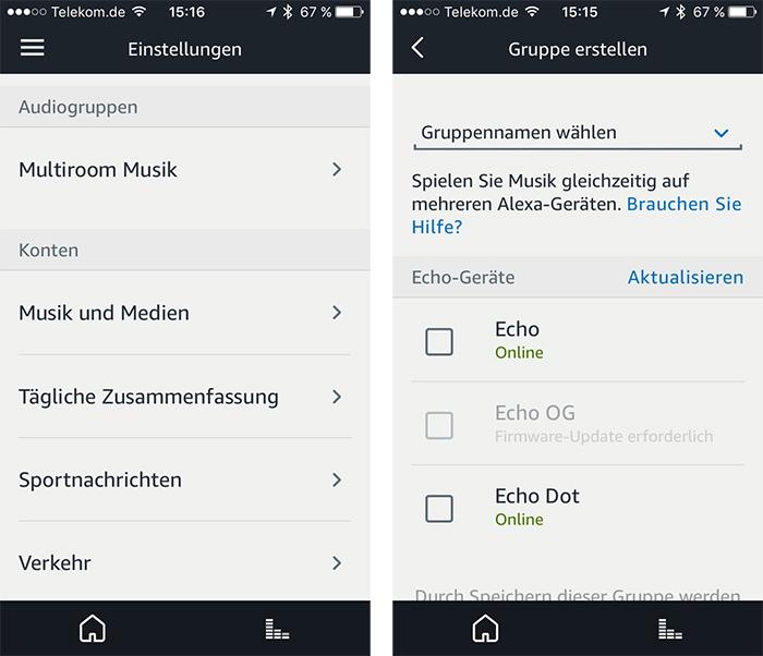 Echo App Multiroom Einstellungen