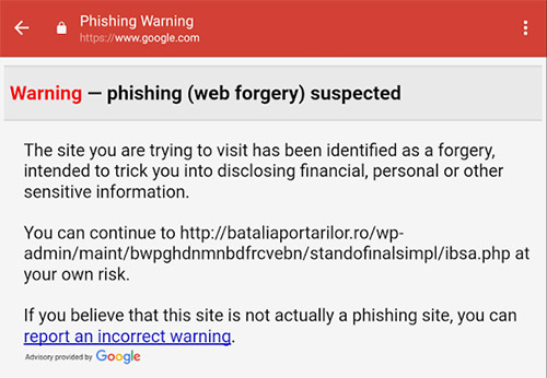 Gmail Phishing Warnung