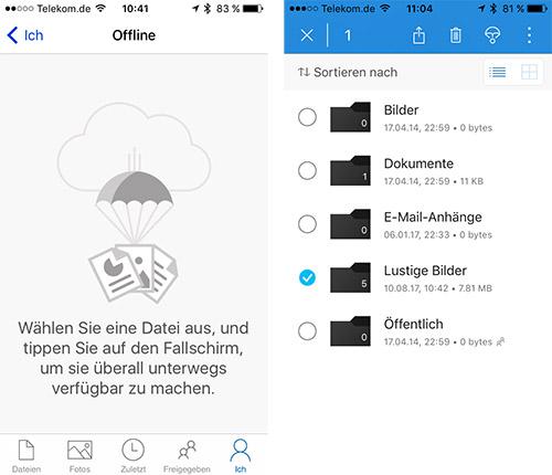 Microsoft One Drive Offline Ordner