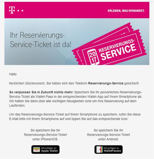Reservierungs Ticket 2017 Telekom