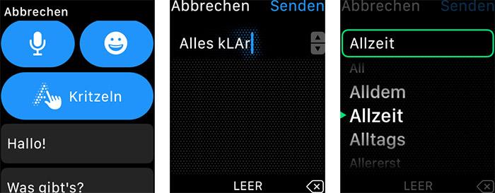 Apple Watch Kritzeln Screenshots