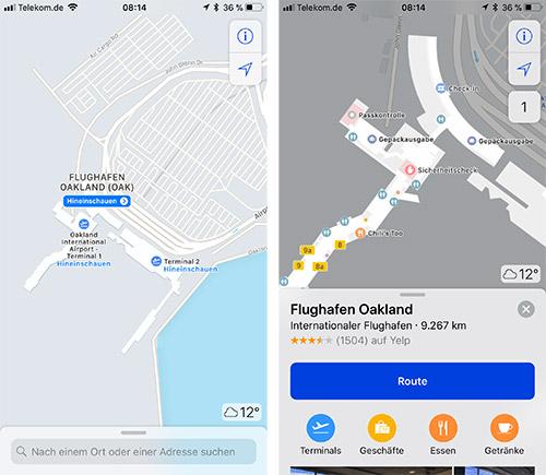 Apple Karten Flughafen Innenbereich