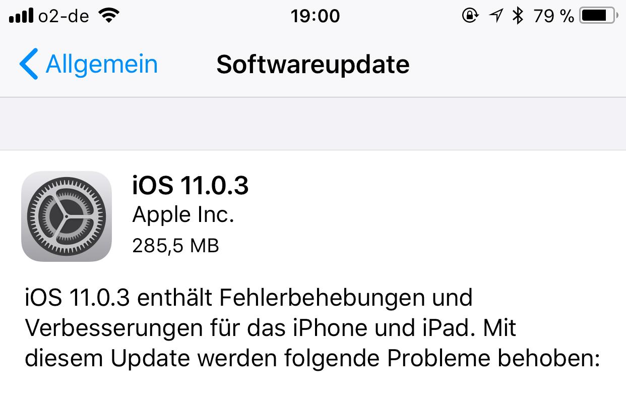 iOS 11.0.3 für alle Nutzer veröffentlicht: Probleme am iPhone 7 und iPhone 6s beseitigt