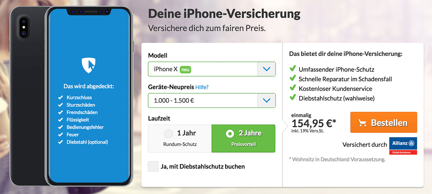 iphone x versicherung allianz veranschlagt 155 euro f r 2 jahre iphone. Black Bedroom Furniture Sets. Home Design Ideas