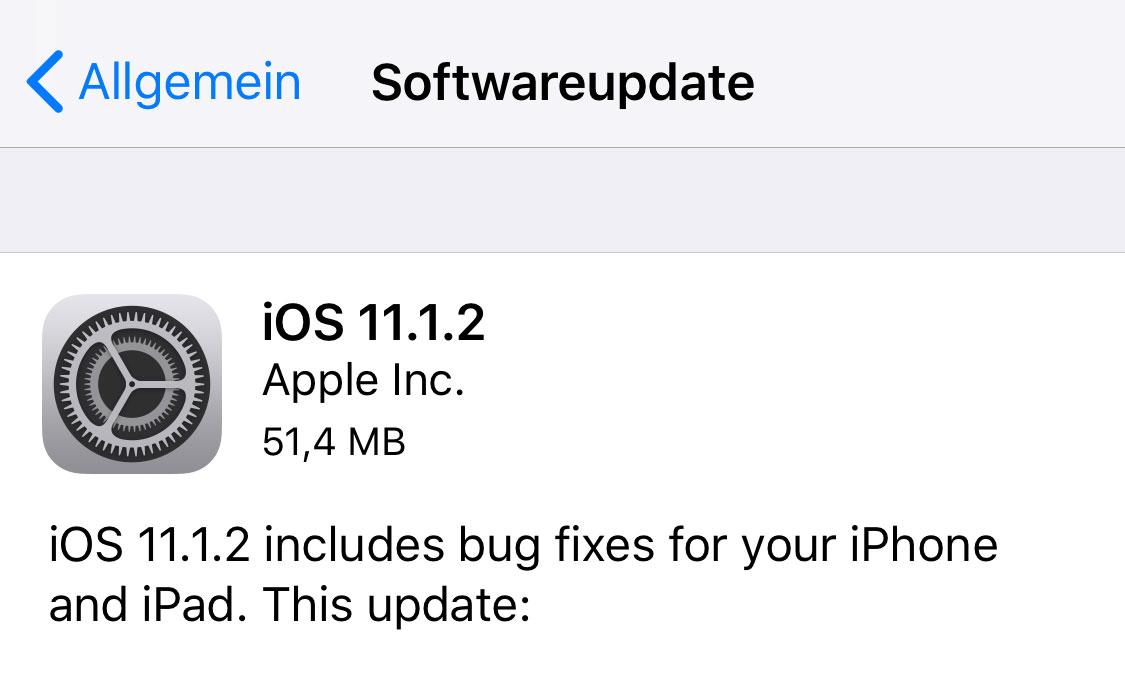 IOS 11.1.2 behebt Fehler des iPhone X - ua Kälte-Bug