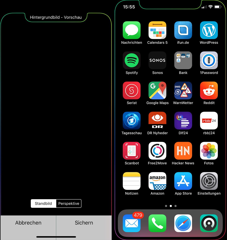"""iPhone X: Trickreiches Hintergrundbild akzentuiert den """"Notch ..."""