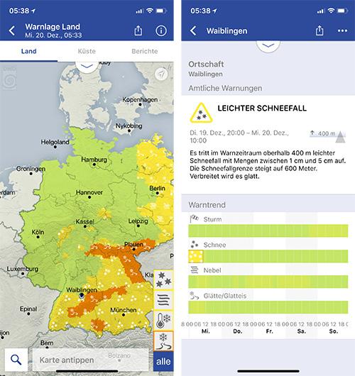 Warnwetter App Eingeschraenkte Version