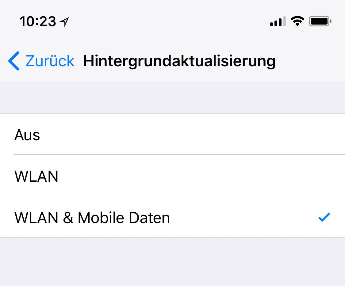 Seit Ios 11 Hintergrundaktualisierung Auf Wlan Beschränken Iphone