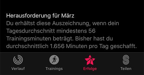 Apple Aktivitaet App Fehler Herausforderung