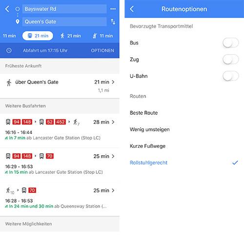 Google Maps Rollstuhlgerechte Routen
