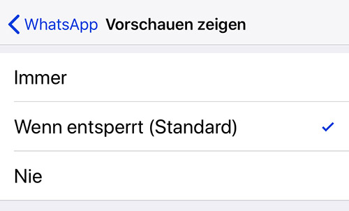 Whatsapp Nachrichten Vorschau Siri Einstellungen