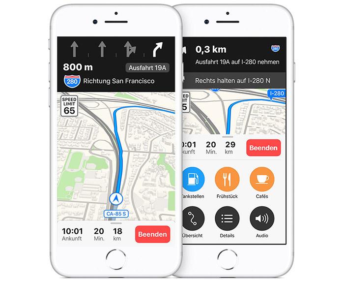 Apple Karten Fahrspurassistent