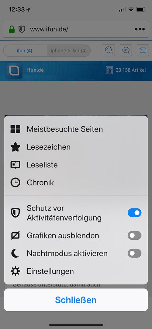 Firefox Tracking Schutz